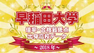2018年度入試 早稲田大学 高校別合格者数・実質倍率・合格最低点